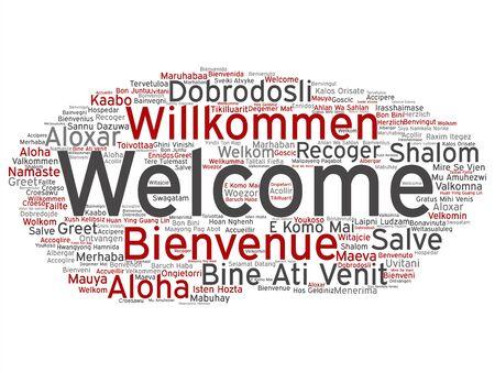 Concepto de vector o bienvenida abstracta conceptual o saludo nube de palabras internacionales en diferentes idiomas o multilingües. Collage de mundo, extranjero, viajes por todo el mundo, traducir, texto de turismo de vacaciones