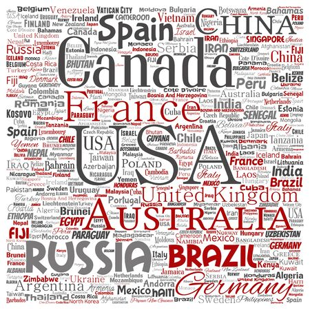 Conceptual world countries or continent square red global unity or vacation travel word cloud isolated background. Collage of international nation geography education or tourism concept design