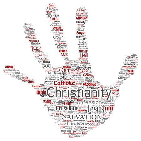 Conceptual christianity, jesus, bible, testament hand print stamp word cloud isolated background. Collage of teachings, salvation resurrection, heaven, confession, forgiveness, love concept