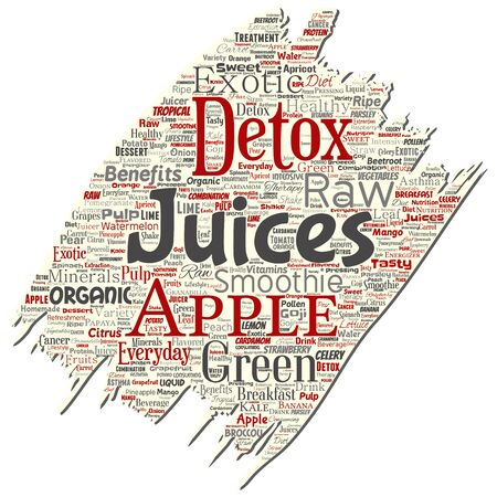 Vector conceptual fresh natural fruit or vegetable juices old torn paper red healthy diet organic beverage word cloud isolated background. Collage of green exotic, tropical raw nutrition concept
