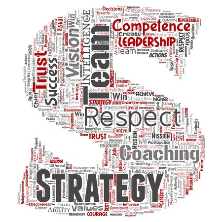 Conceptual business leadership strategy, management value letter font word cloud isolated background. Collage of success, achievement, responsibility, intelligence authority or competence