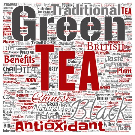 Conceptual green or black tea beverage culture square red natural flavor or taste variety word cloud isolated background. Collage of traditional medicine health diet benefits concept design