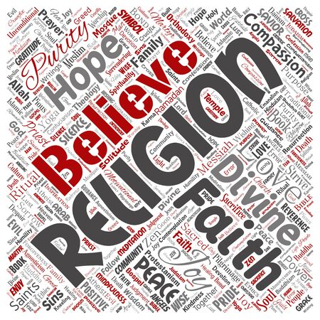 Conceptual religion, god, faith, spirituality square red  word cloud isolated background. Collage of worship, love, prayer, belief, gratitude, hope, divine, symbol,  Stok Fotoğraf