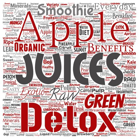Conceptual fresh natural fruit or vegetable juices square red healthy diet organic beverages word cloud isolated background. Collage of green exotic or tropical raw nutrition concept design