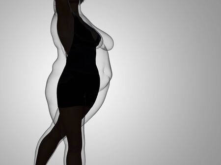 Conceptual fat overweight obese female vs slim fit healthy body after weight loss or diet with muscles thin young woman on gray. A fitness, nutrition or fatness obesity, health shape 3D illustration 写真素材