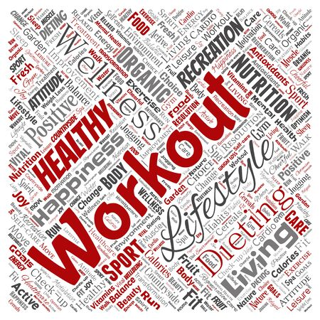 Conceptual healthy living positive nutrition sport square red word cloud isolated background. Collage of happiness care, organic, recreation workout, beauty, vital healthcare spa concept Stok Fotoğraf