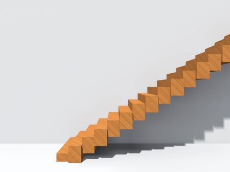 Conceptual stair on wall background building or architecture as metaphor to business success, growth, progress or achievement. 3D illustration of creative steps riseing up to the top as vision design Imagens