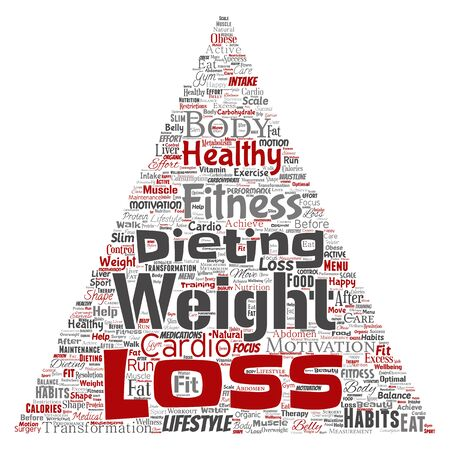 Conceptual weight loss healthy diet transformation triangle arrow word cloud isolated background. Collage of fitness motivation lifestyle, before and after workout slim body beauty concept Imagens