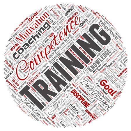 Conceptual training, coaching or learning, study round circle red word cloud isolated on background. Collage of mentoring, development, motivation skills, career, potential goals or competence Stok Fotoğraf