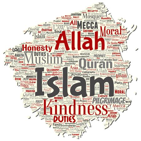 Vector conceptual islam, prophet, mosque old torn paper word cloud isolated background. Collage of muslim, ramadam, quran, pilgrimage, allah, duties, art, calligraphy, oriental, tradition concept