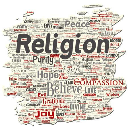 Vector conceptual religion, god, faith, spirituality old torn paper  word cloud isolated background. Collage of worship, love, prayer, belief, gratitude, hope, divine, symbol, spirit, church concept
