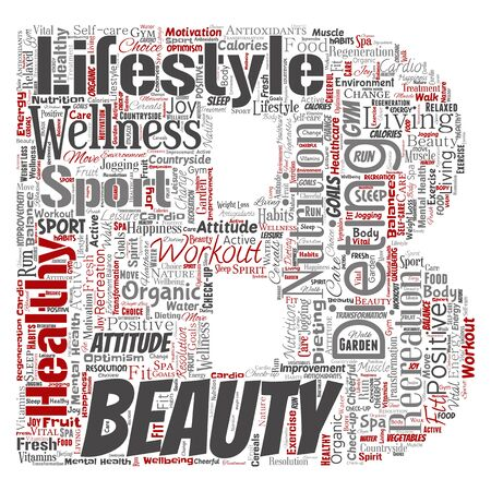 Conceptual healthy living positive nutrition sport letter font word cloud isolated background. Collage of happiness care, organic, recreation workout, beauty, vital healthcare spa concept