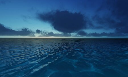 Beautiful tranquil natural vacation seascape with scenic ocean waves in tropical environment, deep clear transparent pure blue water background. A summer travel in paradise, peaceful 3D illustration