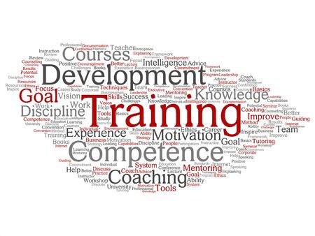 Vector concept or conceptual training, coaching or learning, study word cloud isolated on background. Collage of mentoring, development, motivation skills, career, potential goals or competence text Ilustração