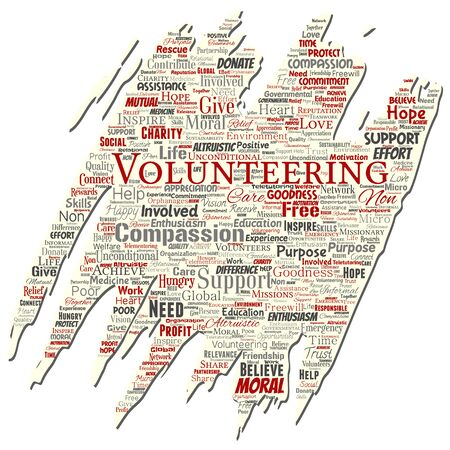 Vector conceptual volunteering, charity, humanitarian old torn paper word cloud isolated background. Collage of selfless, support, philanthropy, nonprofit,  goodness, togetherness, giving concept