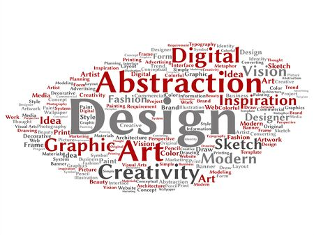 Vector concept conceptual creativity art graphic identity design visual word cloud isolated background. Collage of advertising, decorative, fashion, inspiration, vision, perspective or modeling text