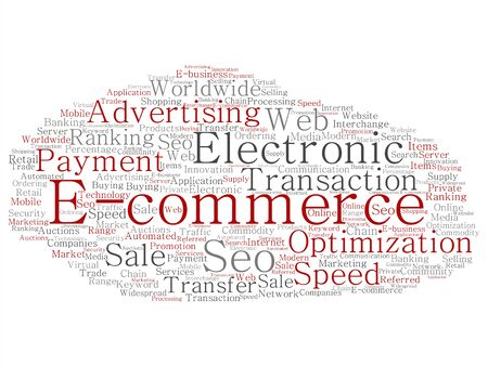 Vector concept or conceptual E-commerce electronic sale abstract word cloud isolated background. Collage of seo optimization transaction, web advertising, e-business, technology, worldwide supply text Illustration