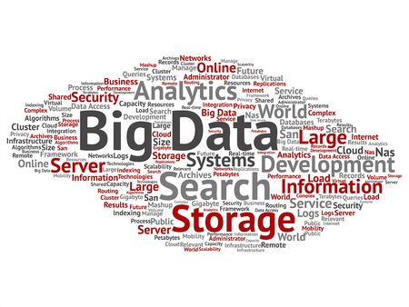 Vector concept or conceptual big data large size storage systems square word cloud isolated on background metaphor to search analytics world information, nas, development, future internet mobility
