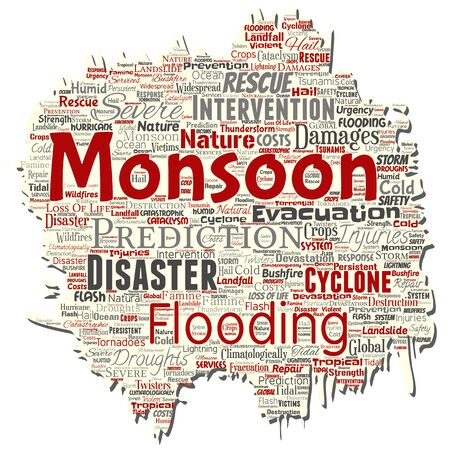 Vector conceptual monsoon dangerous weather old torn paper meteorology word cloud isolated background. Collage of tropical dramatic storm force, strong wind blowing, rain hail thunderstorm concept Иллюстрация