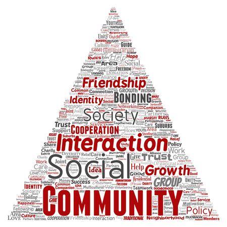 Konzeptionelle Gemeinschaft, soziale, Verbindungsdreieck Pfeil rote Wortwolke isoliert Hintergrund. Collage aus Gruppe, Teamwork, Vielfalt, Freundschaft, Kommunikation, Inklusion, Fürsorge, Respektkonzept