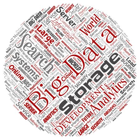 Conceptual big data large size storage systems round circle red word cloud isolated background. Collage of search analytics world information, nas development, future internet mobility concept