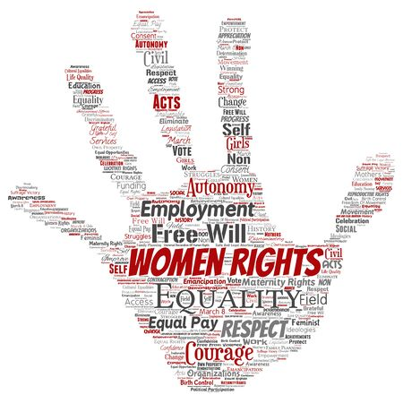 Conceptual women rights, equality, free-will hand print stamp word cloud isolated background. Collage of feminism, empowerment, integrity, opportunities, awareness, courage, education, respect concept Stock Photo
