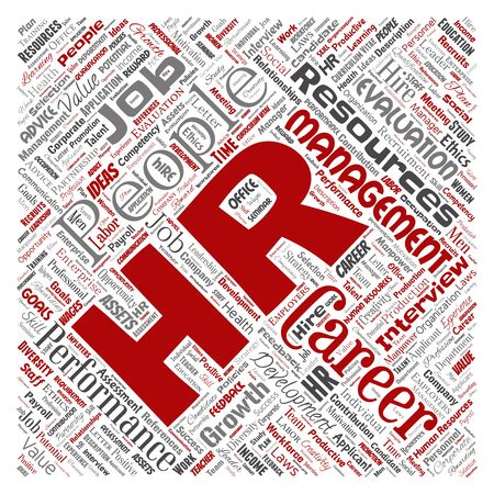 Concept conceptual hr or human resources career management square red word cloud isolated background. Collage of workplace, development, hiring success, competence goal, corporate or job