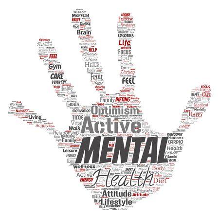 Conceptuele geestelijke gezondheid of positief denkende handafdruk stempel woord wolk geïsoleerde achtergrond. Collage van optimisme, psychologie, geest gezondheidszorg, denken, houding evenwicht of motivatie tekst