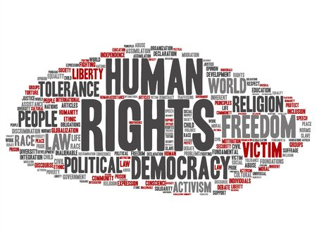 Vector concept or conceptual human rights political freedom, democracy abstract word cloud isolated background. Collage of humanity world tolerance, law principles, people justice discrimination text Banque d'images - 129024573
