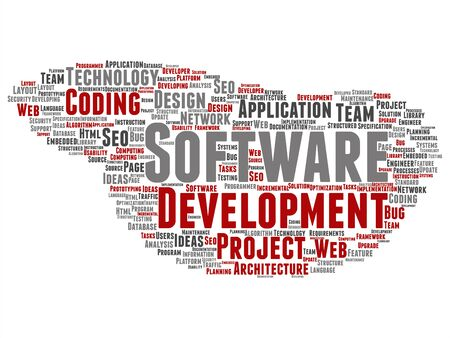 Vector concept or conceptual software development project coding technology abstract word cloud isolated background. Collage of application web design, seo ideas, implementation, testing upgrade text Vecteurs