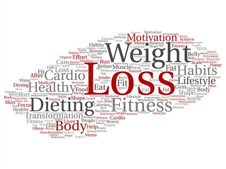 Vector concept or conceptual weight loss healthy dieting transformation abstract word cloud isolated background. Collage of fitness motivation lifestyle, before and after workout slim body beauty text
