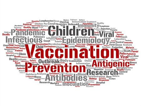 Vector concept or conceptual children vaccination viral prevention abstract word cloud isolated background. Collage of infectious antigenic, antibodies, epidemiology immunization or inoculation text