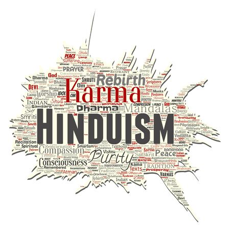 Vector conceptual hinduism, shiva, rama, yoga old torn paper word cloud isolated background. Collage of mandalas, samsara, celebration, tradition, peace, compassion, rebirth, karma, dharma concept