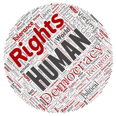 Conceptual human rights political freedom, democracy round circle red  word cloud isolated background. Collage of humanity tolerance, law principles, people justice or discrimination concept Banque d'images - 128984208