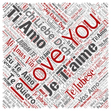 Conceptual sweet romantic I love you multilingual message square red word cloud isolated background. Collage of valentine day, romance affection, happy emotion or passion lovely concept design