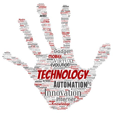 Conceptual digital smart technology, innovation media hand print stamp word cloud isolated background. Collage of information, internet, future development, research, evolution or intelligence
