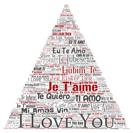 Conceptual sweet romantic I love you multilingual message triangle arrow word cloud isolated background. Collage of valentine day, romance affection,  happy emotion or passion lovely concept