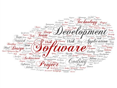 Vector concept or conceptual software development project coding technology abstract word cloud isolated background. Collage of application web design, seo ideas, implementation, testing upgrade text