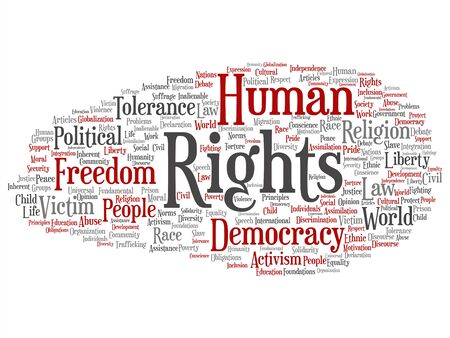 Vector concept or conceptual human rights political freedom, democracy abstract word cloud isolated background. Collage of humanity world tolerance, law principles, people justice discrimination text Banque d'images - 129158246