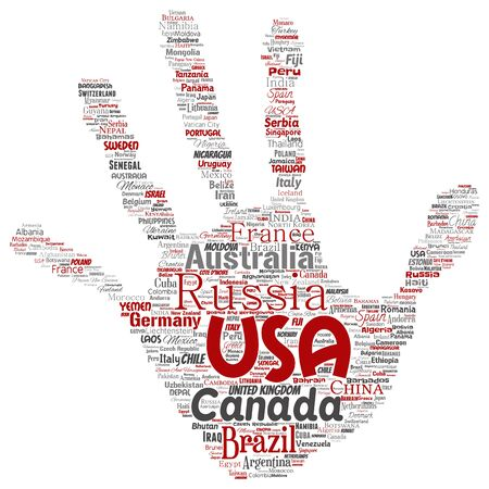 Conceptual world country or continent hand print stamp red global unity, vacation travel word cloud isolated background. Collage of international nation geography education or tourism concept