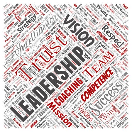 Conceptual business leadership strategy, management value square red word cloud isolated background. Collage of success, achievement, responsibility, intelligence authority or competence