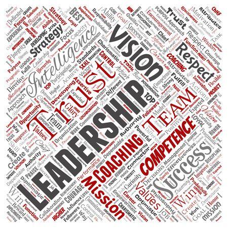 Stratégie de leadership d'entreprise conceptuelle, valeur de gestion fond de nuage de mot carré rouge isolé. Collage de succès, réalisation, responsabilité, autorité ou compétence en matière de renseignement