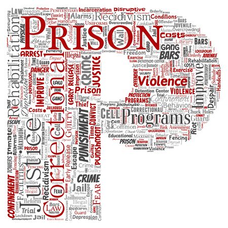 Conceptual prison, justice, crime letter font P red word cloud isolated background. Collage of punishment, law, rights, social, authority, system, civil, trial, rehabilitation, freedom concept