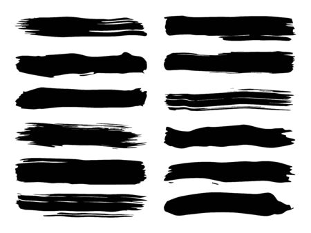 Collection of artistic grungy black paint hand made creative brush stroke set isolated on white background. A group of abstract grunge sketches for design education or graphic art decoration