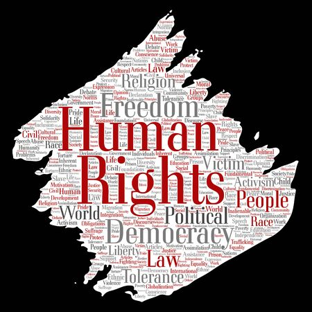 Conceptual human rights political freedom, democracy paint brush paper word cloud isolated background. Collage of humanity tolerance, law principles, people justice or discrimination concept Banque d'images - 129112393