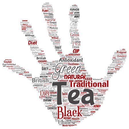 Conceptual green or black tea beverage culture hand print stamp red natural flavor, taste variety word cloud isolated background. Collage of traditional medicine health or diet benefit concept