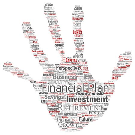 Conceptual business or personal financial plan hand print stamp red finance strategy word cloud isolated background. Collage of income money investment or future retirement security concept