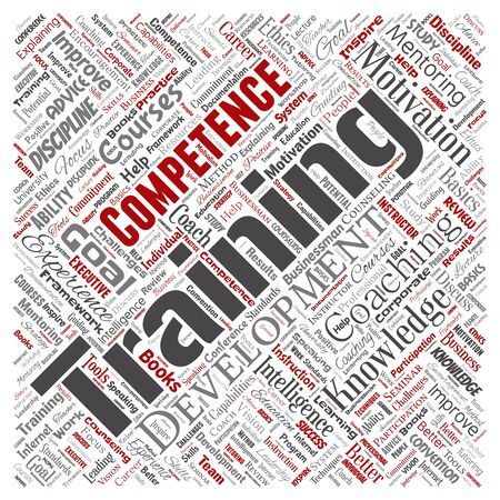 Conceptual training, coaching or learning, study square red word cloud isolated on background. Collage of mentoring, development, motivation skills, career, potential goals or competence Stockfoto - 129159320