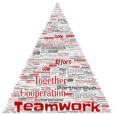 Conceptual teamwork management triangle arrow red partnership idea, success goal word cloud isolated background. Collage of business strategy, group cooperation solution or team concept design 스톡 콘텐츠