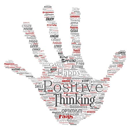 Conceptual positive thinking, happy strong attitude hand print stamp word cloud isolated on background. Collage of optimism smile, faith, courageous goals, goodness or happiness inspiration